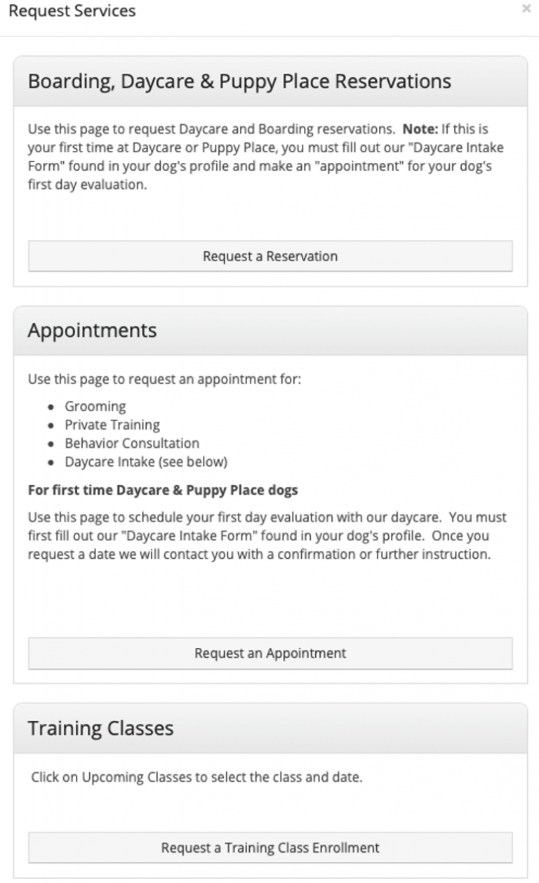 Gingr Screenshot on how to request a reservation